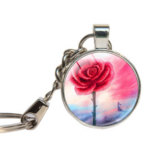 Flower Rose Keychain Glass Cabochon Gifts For Lover Key Ring Glass Dome Valentine Day Women Key Chains Jewelry Key Holder