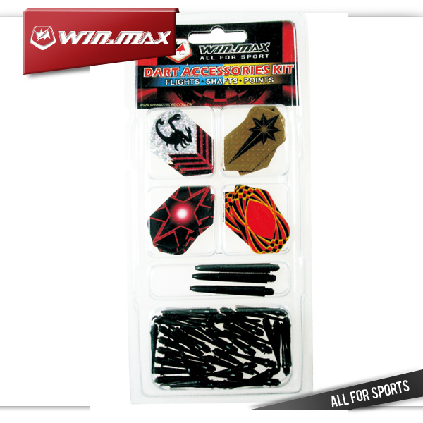 Winmax 12 flights & 3 nylon shafts & 50 black soft tips in 1 pcs soft dart accessories pack(China (Mainland))