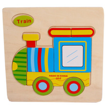 Mordern Wooden Cute Train Puzzle Educational Developmental Baby Kids Training Toy wholesale(China)