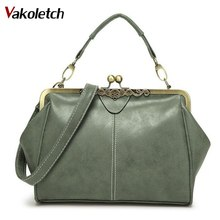 Vintage Women Messenger Bags Small Retro Crossbody Shoulder Bags Female Fashion Metal Frame Pu Leather Small Clutch Handba A-102(China)