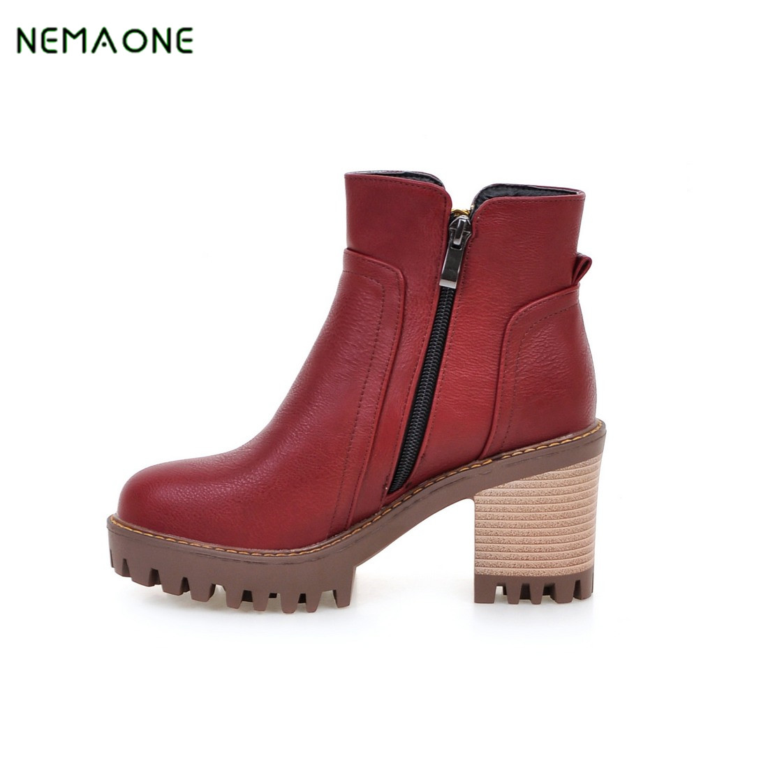 NEMAONE Winter Women Ankle Boots Medium Square Heels Suede Martin Boots Pointed Toe Buckle Boots Shoes For Women<br>