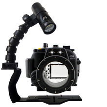 Underwater Waterproof Housing Diving Case for Canon 550D 600D 650D 70D 5D III Camera + Lighting Flex Arm Bracket + Video Torch