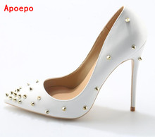 Big Sale White Gold Spikes Studded Women Pumps Rivets Pointed Toe Slip-on High Heels Zapatos Mujer Party Shoes Woman Big Size 10(China)