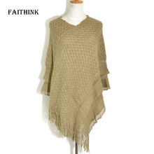 [FAITHINK] Women Winter Knitted Pullover Loose Tassel Sweater Female Warm Blanket Cardigan Jumper Ponchos and Shawls Scarves(China)