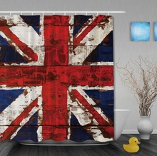 Shower Curtains Design With UK Flag On The Old Wooden Waterproof Fabric High Quality Bathroom Curtain With Hooks
