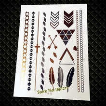 1 Sheet Flash Metalic Temporary Tattoo Stickers GYS-02 Gold Silver Feather Diamond Cross Bracelets Arrow Design Women Arm Tattoo(China)
