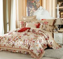 oriental peony floral beige luxurious bedding 10 pcs Queen bed in a bag set Quilted Jacquard Satin Cotton quilt/duvet covers