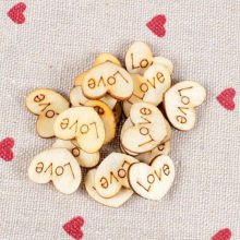 100PCS Wood crafts heart love blank unfinished natural supplies wedding ornaments Free Shipping