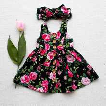 2017 Baby Girls Sun dress Kids Summer Clothes Children Flower Dresses With Headband For 80-120cm(China)