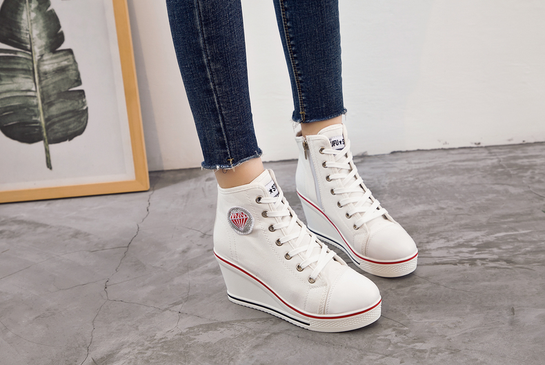 Women's Shoes Hidden Wedge Heel Shoes 18 Women Casual Shoes Canvas Sneakers High Top Breathable Platform Chaussure Femme 24
