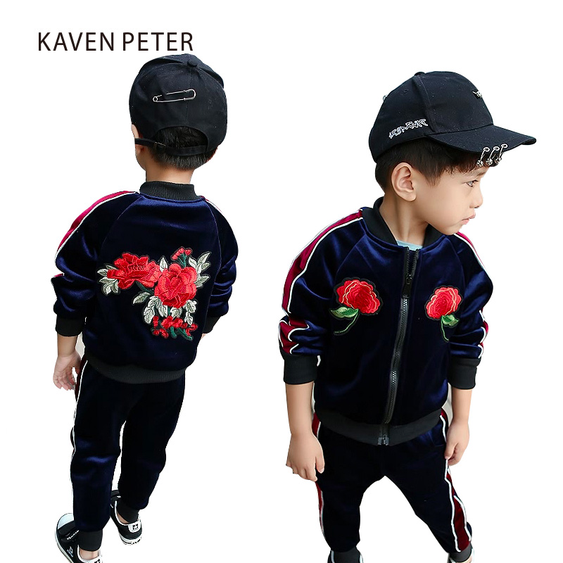 Children Winter sports suit 2017 fashion kids sportswear pleuche girls floral jacket boys navy blue velvet casual clothing<br>