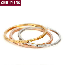 Top Quality ZYR029 Three Color Round  Rose Gold Color Fashion Ring Austrian Crystals Full Sizes Wholesale