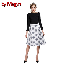 by Megyn Designer Brand Women Set Suits Full Sleeve Slash Neck Tops + Floral Print A-Line Skirt Casual Twinset DG8537(China)