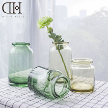 DH traditional green glass  floor vase home decoration clear sandy beige Flower glass vase wedding decoration vases