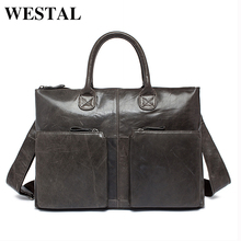 WESTAL Genuine Leather Bag Business Handbags Cowhide Men Crossbody Bags Men's Travel Bags Tote Laptop Briefcases Men's Bag L502