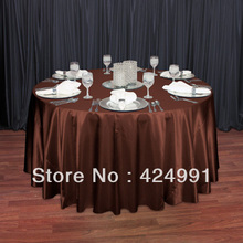 "High Quality Chocolate Brown 108"" Round Satin Table Cloth ,Satin Table Cloth For Wedding Event Decoration(China)"