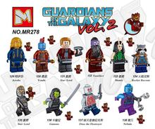 10PCS MR278 Guardians of the Galaxy Groot Rocket Raccoon Star-Lord Nebula Ayesha Gamora Drax the destroyer Blocks Toys