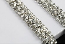 free shippment 3 Row 5yard/lot Costume Applique Crystal Rhinestone Trims super close chain with Silver base Wedding Decoration