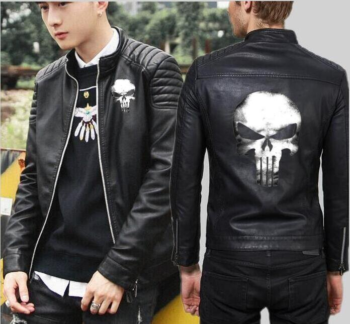 Men's Punisher Taro leather hooded jacket punk high-end new zipper hooded motorcycle leather Slim motorcycle leather jacket