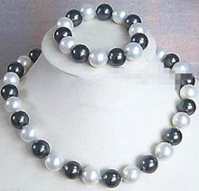free shipping Black White South Sea Shell Pearl Necklace + Bracelet A Jewel Set(akk507)(China)