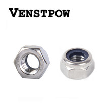 50pcs/lot Metric DIN985 M2 M2.5 M3 M4 M5 M6 M8 M10 M12 304 Stainless Steel Hex Head Nylon Insert Lock Nuts(China)
