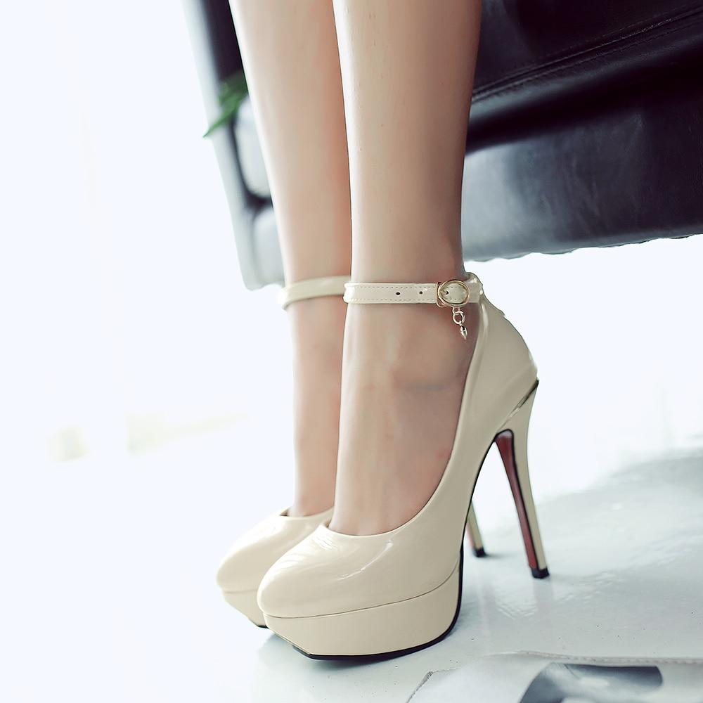 Women bridal shoes sexy super high heels ladies round toe platform pumps fashion ankle strap stiletto footwear big size34-43 488<br>
