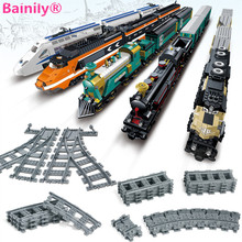 [Bainily] Mini Train Track Building Blocks Bricks Streight and Curve Track Rail Model Toys Compatible With LegoINGly City Train