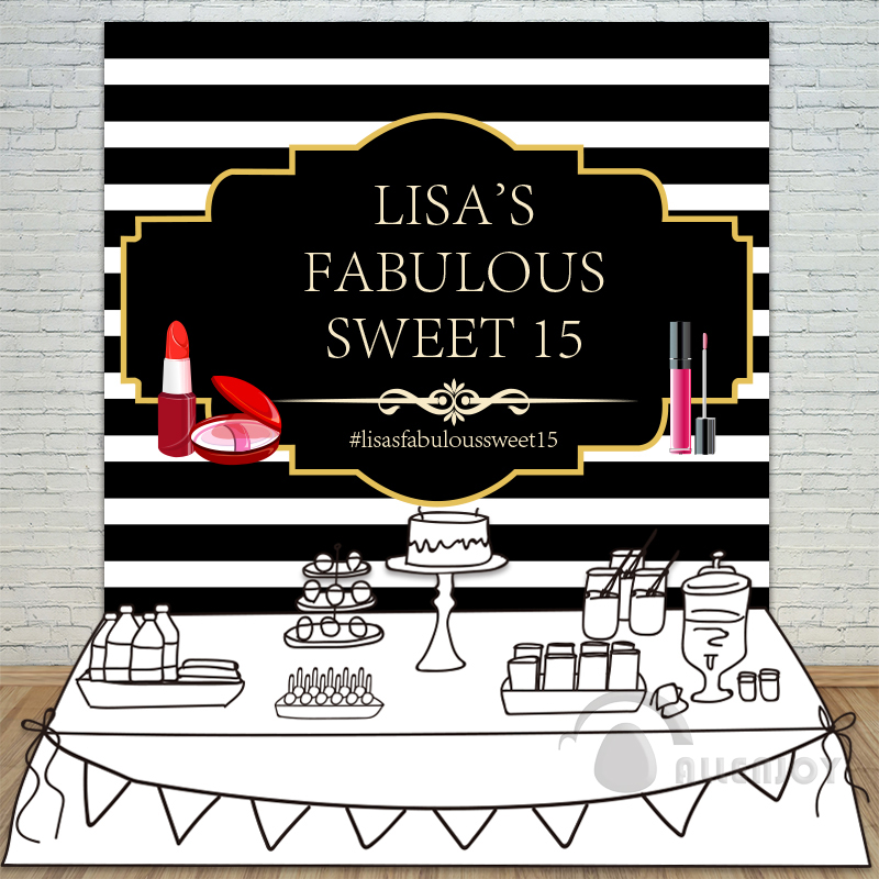 Girls Birthday backdrops Baby Shower Background black white Stripe cosmetic Invitation celebration Table Banner Party Allenjoy<br>