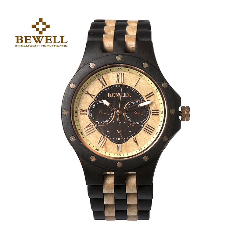 BEWELL Mens Watches Handmade Wooden Watches Casual Watches Mens Luxury Design Time Date Brand Fashion Quartz Watch 116c<br>