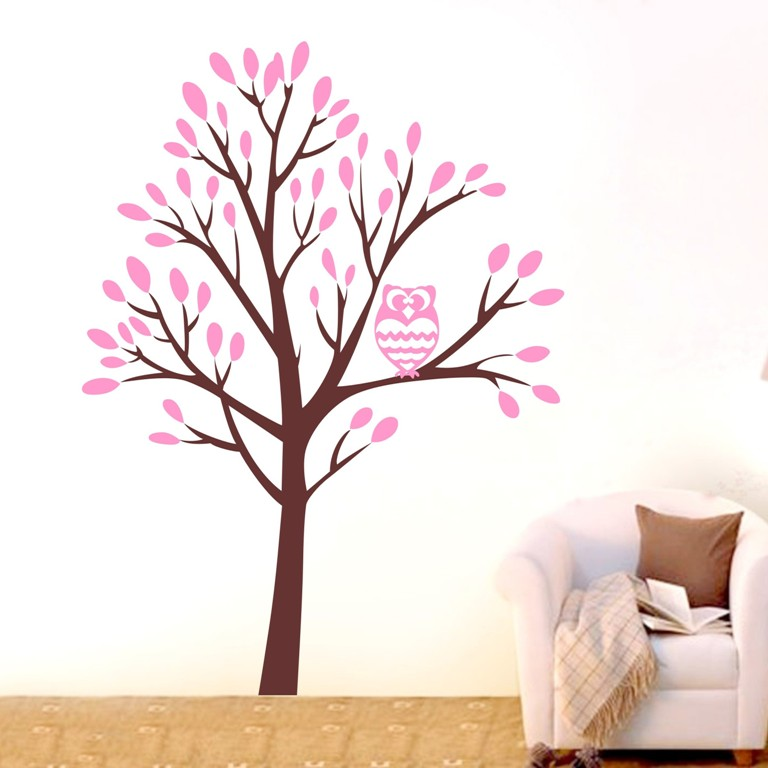 Custom Color Large Jungle Owl Tree Wall Art Stickers Vinyl Decal Home Kids  Decor Mural DIY Part 76
