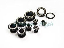 Clear Stone Gem Bling Flesh Tunnels Black Vacuum Plating Titanium Crystal Set Jewelry 10-24mm Fashion Body Piercing Ear Expander(China)