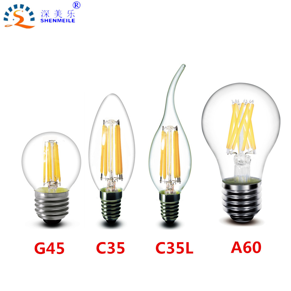 1pcs E27 E14 220V 230V 240V A60 G45 C35 2W 4W 8W Warm white LED Filament Candle Bulb Lamp Light <br><br>Aliexpress