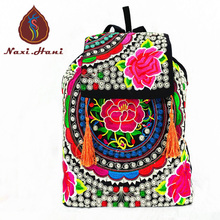 Vintage boho embroidered Canvas women Backpack Ethnic cover Hasp casual tassel travel Backpack Online sales Pattern satchelbags