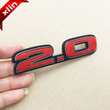 Newest 2.0 3D logo red Car Stickers Emblem Badge rear trunk displacement decorative decals accessories