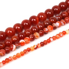 Red Beads Round Carnelian Selectable 4 6 8 10 mm Natural Stone Beads For Jewelry Making Diy Bracelet Necklace