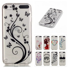 Soft Silicone Butterfly Painted TPU Back Cover Case For Apple iPod Touch 5 6 Shell Crystal Transparent Clear Phone Cases