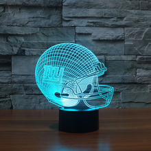 NY New York Giants Football Team Bar Logo Light Signs 3D Football Helmet Visual Lamp Colorful Touch Night Light(China)