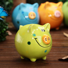 Portable Cute Ceramic Pig Piggy Bank Saving Cash Coins Money Box Children Toy Kids Gifts Home Collection Decorative Money Boxes(China)