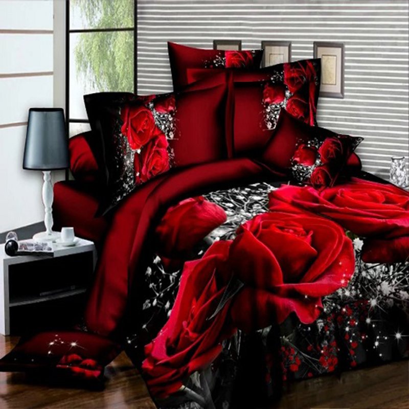 3D Oil Painting red rose bedding set Queen size comforter bag duvet cover set 2 * pillowcases 1 * bed sheet 1 * quilt cover(China)