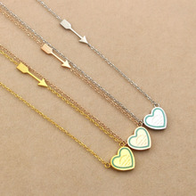 Martick 316L Stainless Steel Necklace Blue Pink Heart Pendant With Love Arrows Necklace Fashion Jewelry For Girl P25(China)