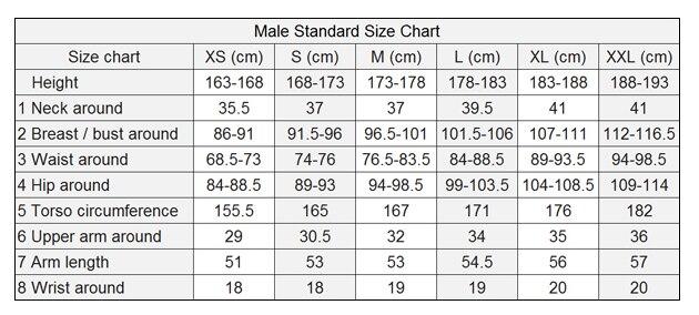Male Shirt Size Chart a