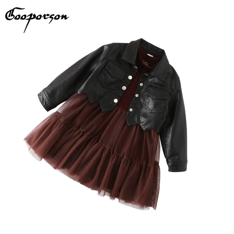 GOOPORSON Kids Girl Dress Winter Thick Dress And Leather Jackets 2 Pcs Fashion Dress For Girls Clothes Children Sets<br>