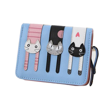 Lovely cute cat wallet small zipper coin purse fashion new girl wallet with card holders short pattern designed women wallet