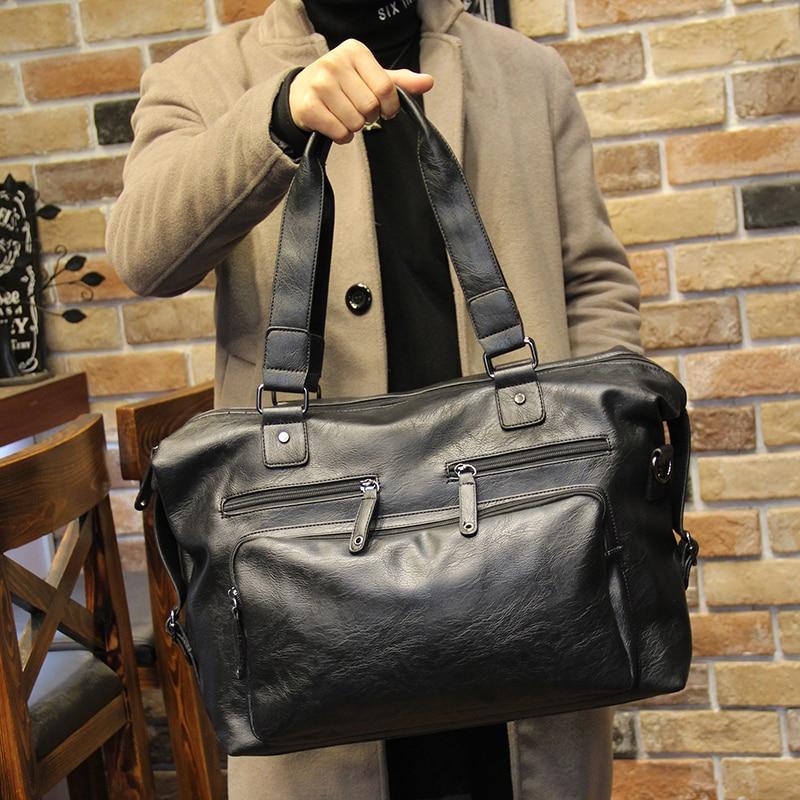 2017 Vintage men messenger bags high quality soft pu leather solid handbags large capacity travel Bags black man V172<br>