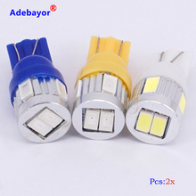 2X High Power 3W T10 W5W 194 168 6 SMD 5630 LED Instrument lamp Auto Wedge led Door Rear Side Turn signal led bulb White 12V