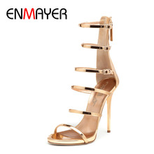 ENMAYER Summer Rome Tube Buckle Cool Golden Leather High Heels Sandals Manufacturers Customer Handmade Shoes Woman Sexy Open Toe