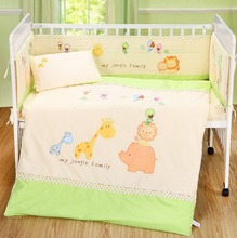 hot sell of baby Animals Boy and girl Baby Cot Cribs Bedding sets 7pcs ,comforter+bumper+sheet+pillow(China)