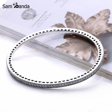 2017 Authentic 925 Sterling Silver Twinkling Forever Bangle Clear CZ Hinged Clasp Bangles & Bracelets Pan Women Jewelry Pulseira
