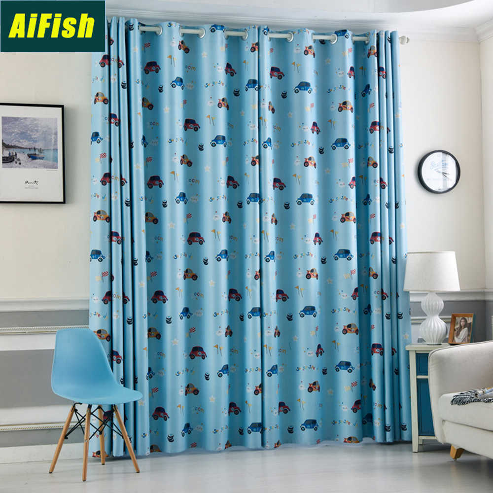 Thermal Insulated Blackout Curtains for Kids Boys Room Cartoon Cars Printed Blue Curtain Drapes Sheer Curtain For Bedroom TM0042
