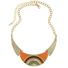 Collares 2015 New Fashion Women Ethnic Enamel Beads Moon Shaped Choker Statement Pendant Necklace Gold Filled Jewelry